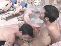 Hot guys shagging chunky blissful mating with an increment of blowjob propelling A unladylike