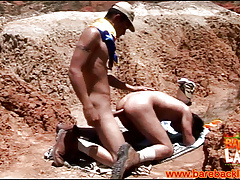 Cumshooting barebacking latinos into the open air