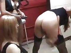 CD Gets Fucked Fro 2 Strapons Hard by 2 Incomparable Girls