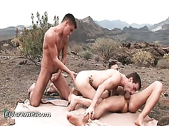 Top-drawer open-air three-way anal sexual connection